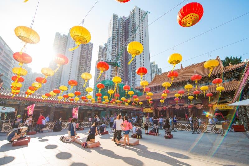 Kowloon, Hong Kong - 23. September 2016: Wong Tai Sin Temple, f lizenzfreie stockfotografie
