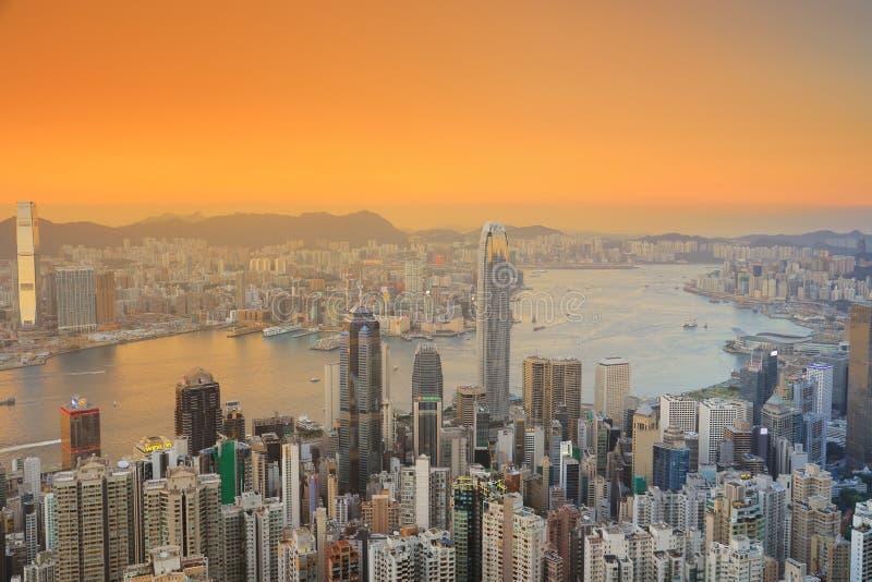 Kowloon island from Lugard load view point. Victoria peak, Hongkong royalty free stock photo