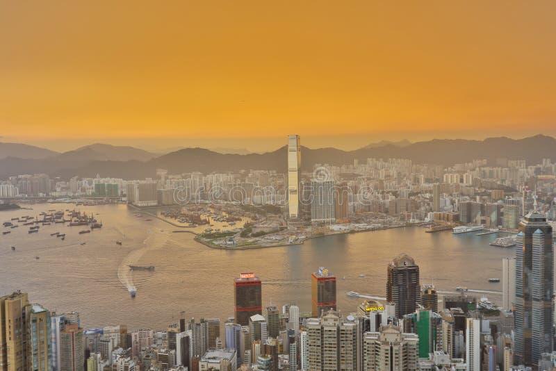 Kowloon island from Lugard load view point. Victoria peak, Hongkong royalty free stock image