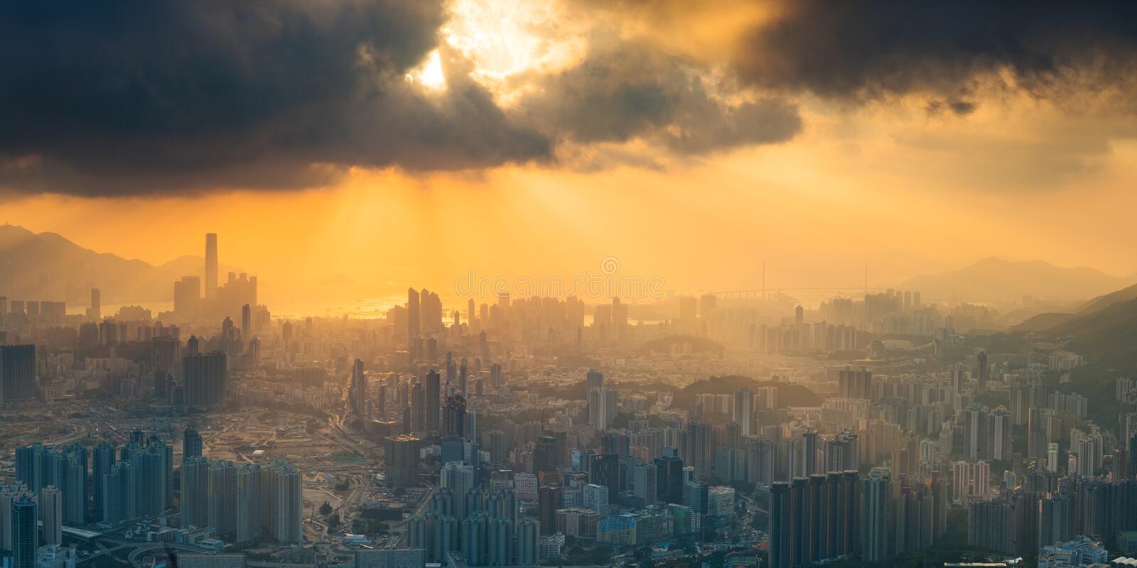 Kowloon peak, Hong Kong. Panorama view before sunset on Kowloon Peak, Hong Kong stock photo