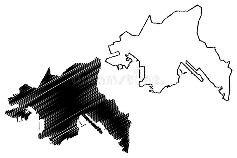 Kowloon region Hong Kong Special Administrative Region of the People`s Republic of China, Hong Kong SAR map vector illustration stock illustration