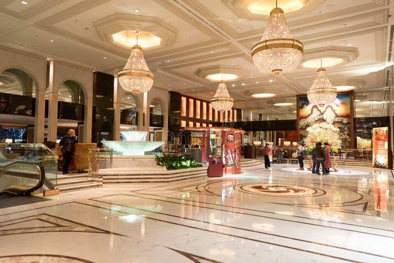 Kowloon Shangri-La. HONG KONG - 26 JANUARY, 2016: Kowloon Shangri-La Hotel lobby. Kowloon Shangri-La is a five-star hotel of the Hong Kong-based Shangri-La stock photo