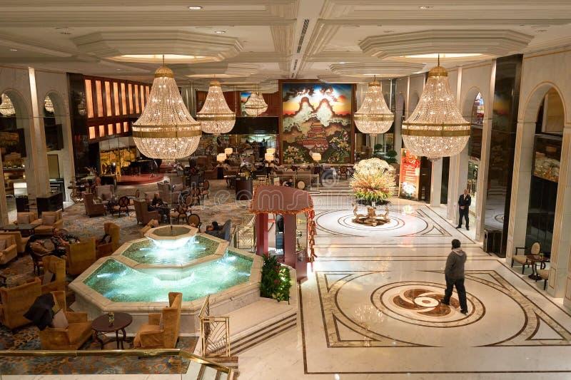 Kowloon Shangri-La. HONG KONG - 26 JANUARY, 2016: Kowloon Shangri-La Hotel lobby. Kowloon Shangri-La is a five-star hotel of the Hong Kong-based Shangri-La royalty free stock photography