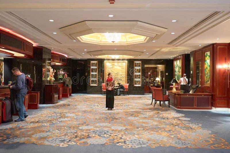 Kowloon Shangri-La. HONG KONG - 26 JANUARY, 2016: inside Kowloon Shangri-La. Kowloon Shangri-La is a five-star hotel of the Hong Kong-based Shangri-La Hotels and stock images