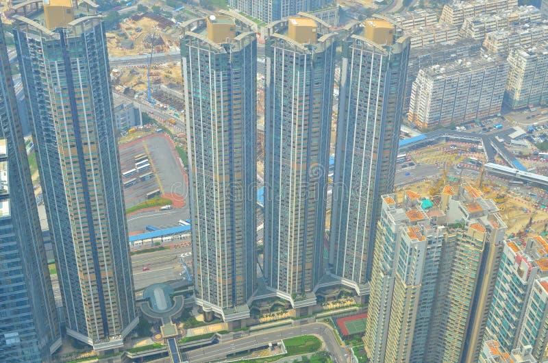 Kowloon zijaanzicht Hongkong isaland bij ICC royalty-vrije stock fotografie