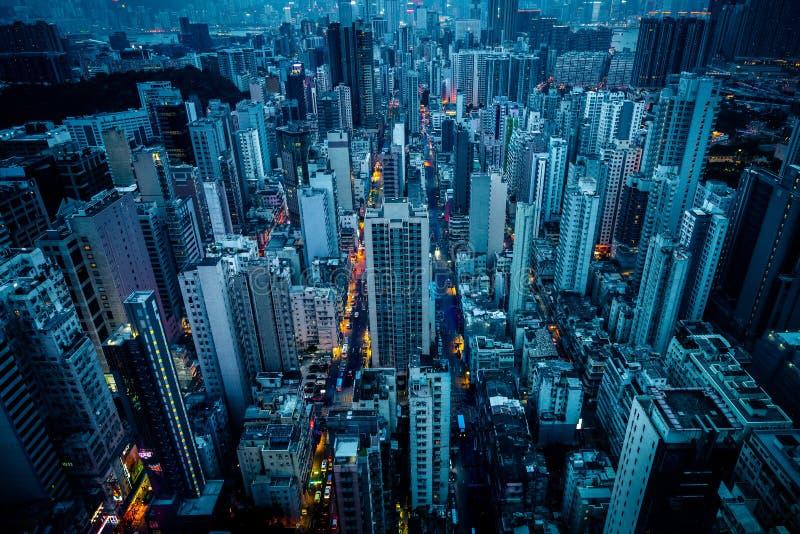 Kowloondistrict, Hong Kong bij nacht royalty-vrije stock fotografie