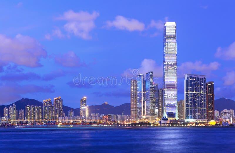 Kowloonkant bij nacht royalty-vrije stock foto's