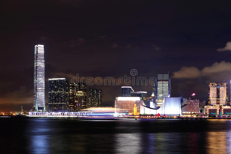 Kowloonkant bij nacht stock foto's