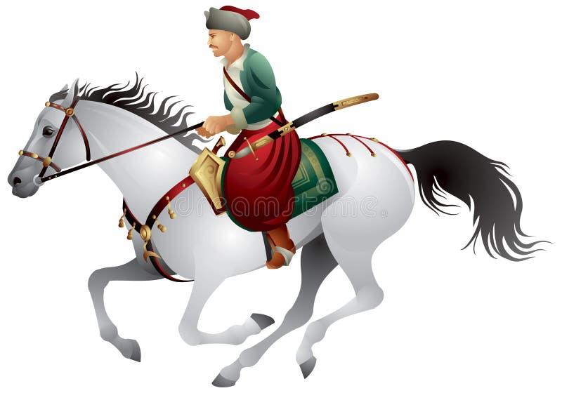 Kozaczek na koniu royalty ilustracja