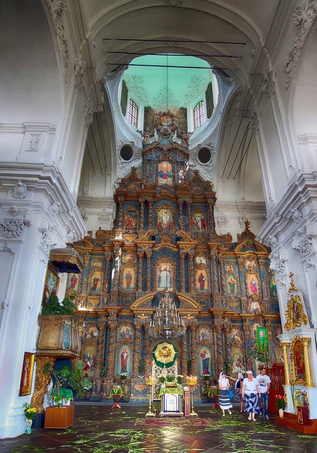 Kozelec, Ukraine, 08 06 Iconostase 2014 dans la cathédrale orthodoxe de la nativité de la Vierge dans Kozelec images libres de droits