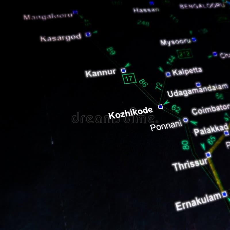 Kozhikode Bezirksname in Indien Südreligion auf schwarzer geografischer Ortskarte stockfoto