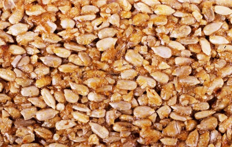 Kozinaki von den goldenen, gebratenen Erdnussbohnen als Hintergrund, Beschaffenheit Makroschie?en, Nahaufnahme stockfotos