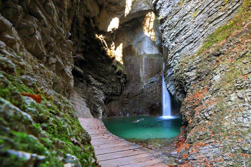 Kozjak waterfall, Kobarid, Slovenia. Kozjak waterfall near Kobarid town in Slovenia royalty free stock image