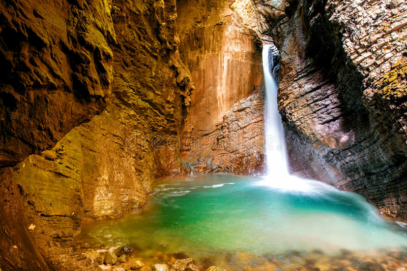 Kozjak waterfall in Slovenia stock photo