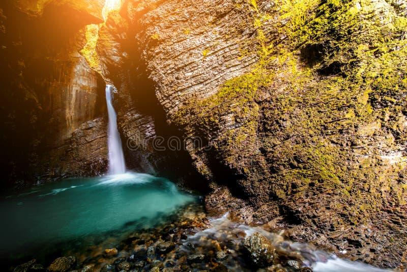 Kozjak waterfall in Slovenia. Kozjak waterfall in Triglav natioanl park in Slovenia. Long exposure technic with motion blurred water royalty free stock image