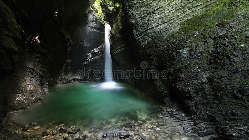 Kozjak waterfall in Soca valley , Slovenia. One of Slovenia´s most picturesque waterfall on Kozjak stream in Soca river valley royalty free stock photos