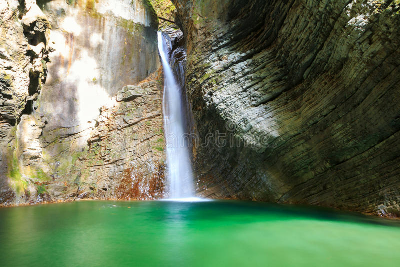 Kozjak waterfalls to the beautiful cave of Triglav National Park stock photo