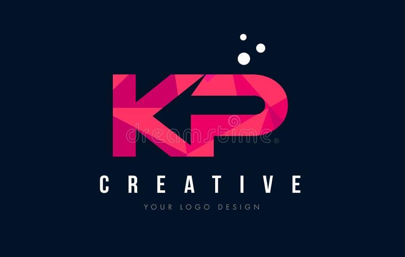 KP K P listu logo z Purpurowym Niskim Poli- Różowym trójboka pojęciem ilustracja wektor