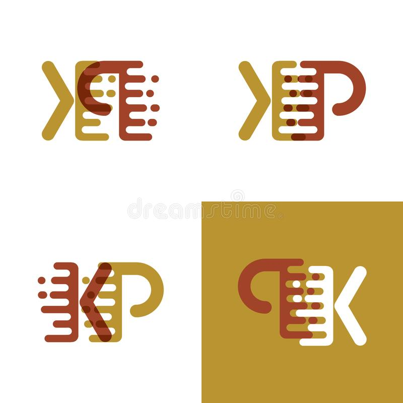 KP pone letras al logotipo con acento para apresurar en marrón marrón claro y oscuro ilustración del vector
