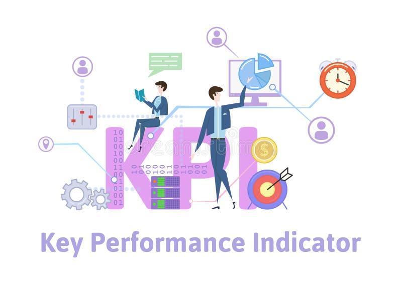 KPI,主要绩效显示 与主题词、信件和象的概念桌 色的平的传染媒介例证  皇族释放例证