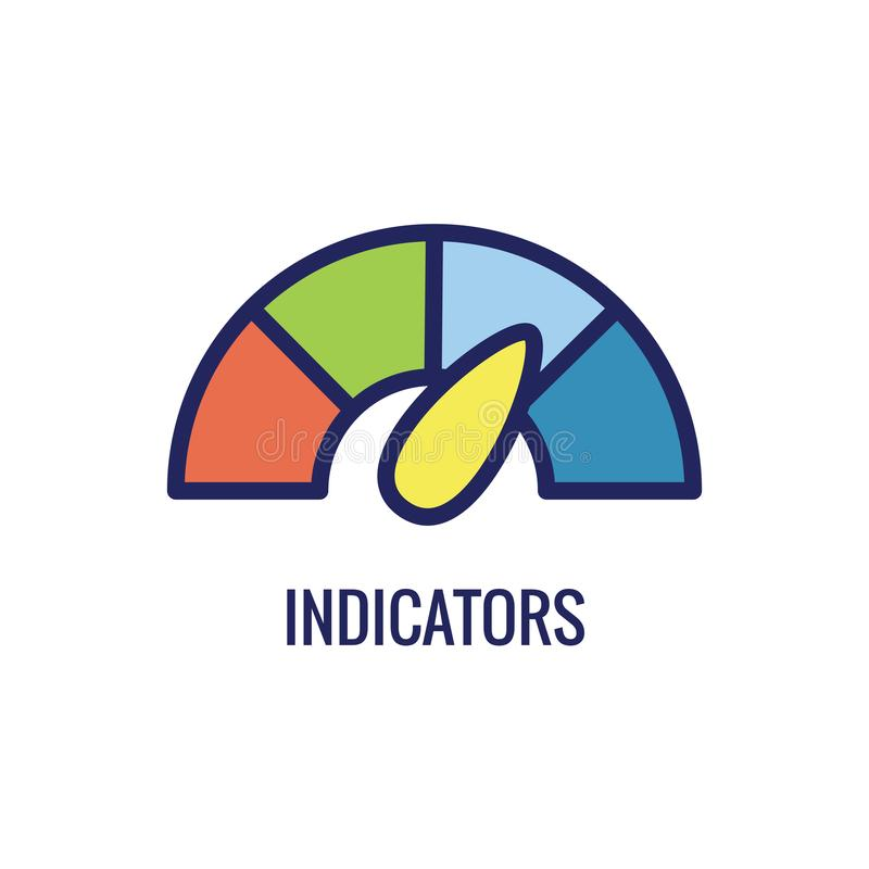 KPI - Βασικά διάφορα χρώματα εικονιδίων W δεικτών απόδοσης απεικόνιση αποθεμάτων