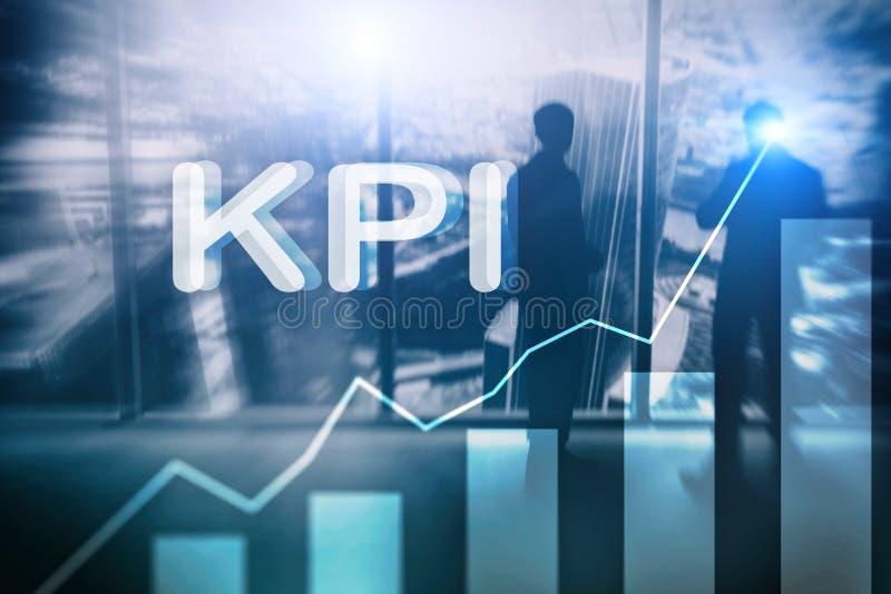 KPI - Диаграмма индикатора ключевой производительности на запачканной предпосылке иллюстрация вектора