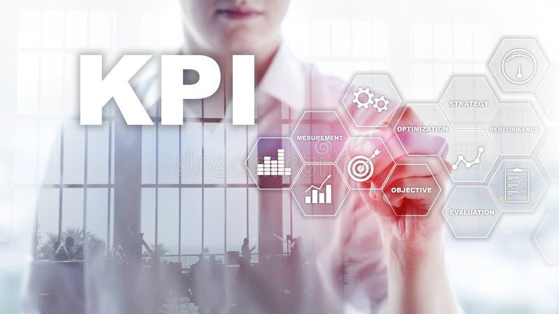 KPI -主要绩效显示 企业和技术概念 多重曝光,混合画法 财政概念 免版税图库摄影