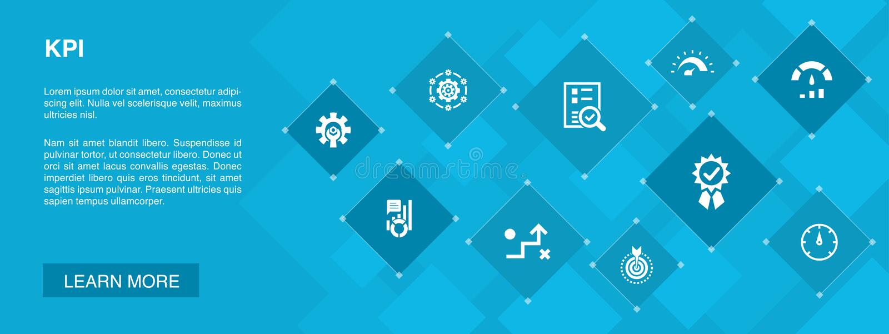 KPI banner 10 icons concept.optimization royalty free illustration