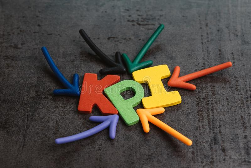 KPI, blanco del negocio del indicador del punto clave y medida de la meta encendido imágenes de archivo libres de regalías