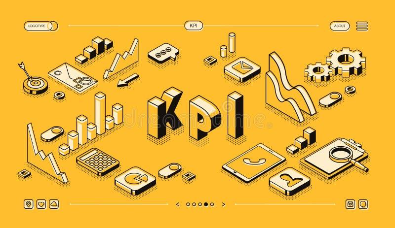 KPI business performance vector isometric halftone. KPI business performance strategy and analysis vector illustration in thine line isometric design on yellow stock illustration