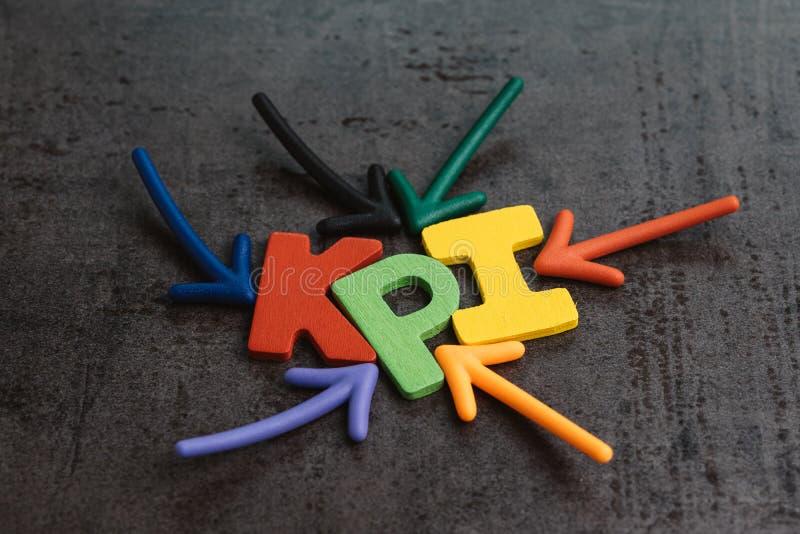 KPI, cible d'affaires d'indicateur de point clé et mesure de but dessus images libres de droits