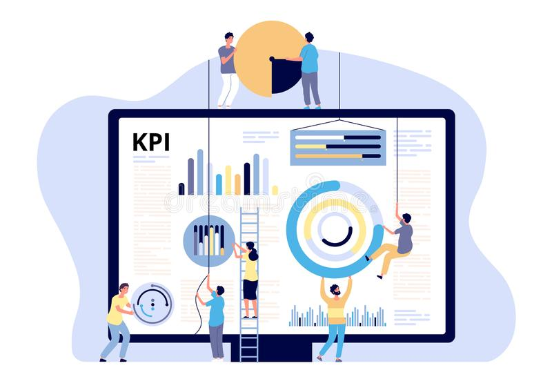 KPI concept. Key performance indicator marketing, business digital metric. Campaign measuring, product traffic reports. Vector banner business kpi indicator vector illustration
