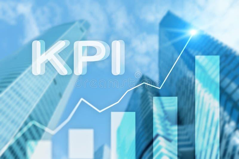 KPI - Graf för indikator för nyckel- kapacitet på suddig bakgrund royaltyfri illustrationer