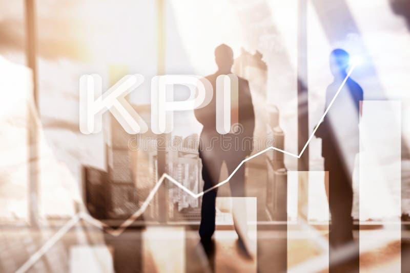 KPI - Graf för indikator för nyckel- kapacitet på suddig bakgrund stock illustrationer