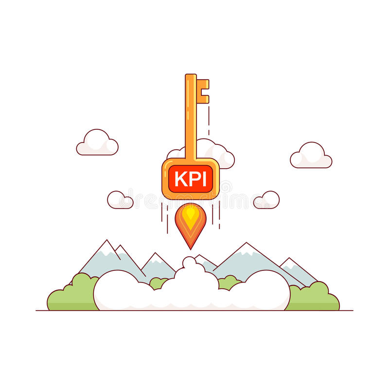 KPI growth concept. Key performance indicator skyrocket trough the sky. Tremendous business success metaphor. Modern flat style thin line vector illustration vector illustration