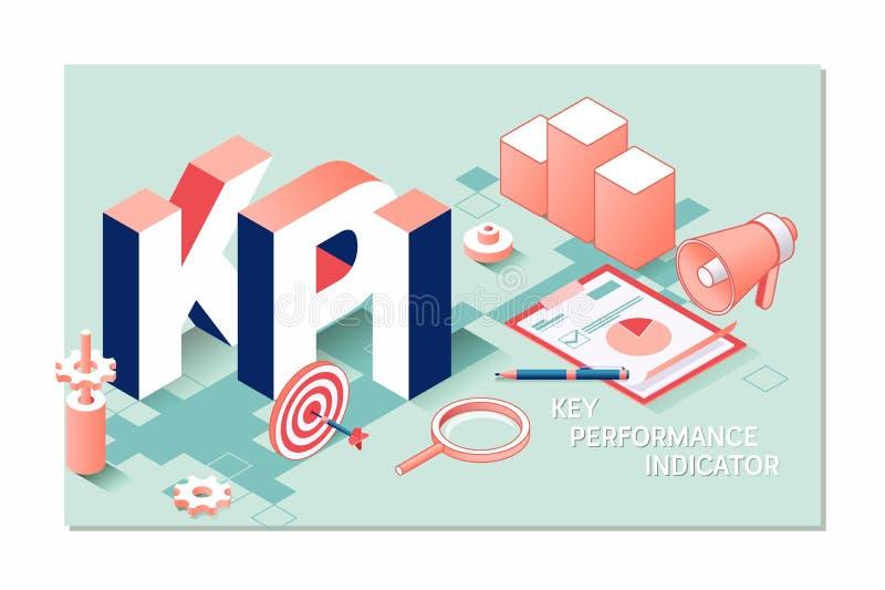 KPI, indicadores de desempenho chaves Bandeira lisa da ilustração do vetor do medidor do negócio ilustração royalty free
