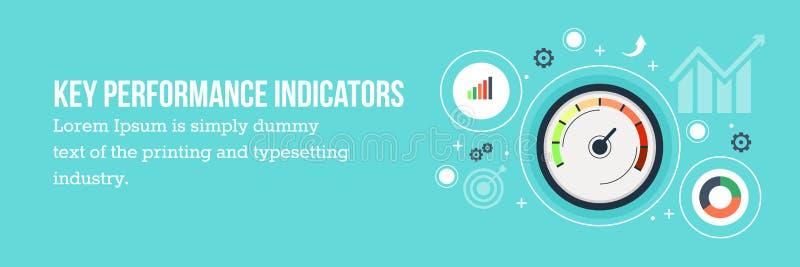 KPI - Insegna piana di web di progettazione degli indicatori di efficacia chiave illustrazione vettoriale