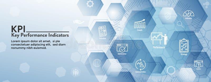 KPI - Insieme dell'insegna e dell'icona di intestazione di web degli indicatori di efficacia chiave illustrazione di stock