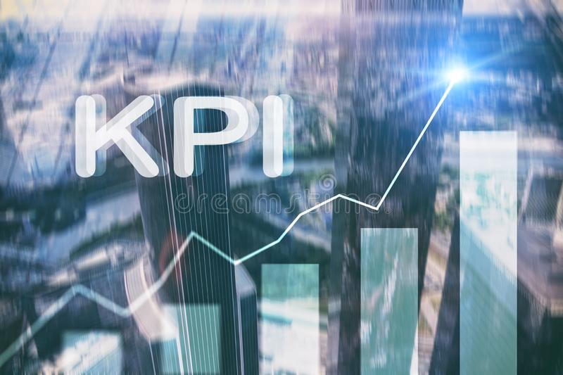 KPI - Key Performance Indicator. Business. And technology concept. Multiple exposure, mixed media. Financial concept on blurred background management plan royalty free stock images