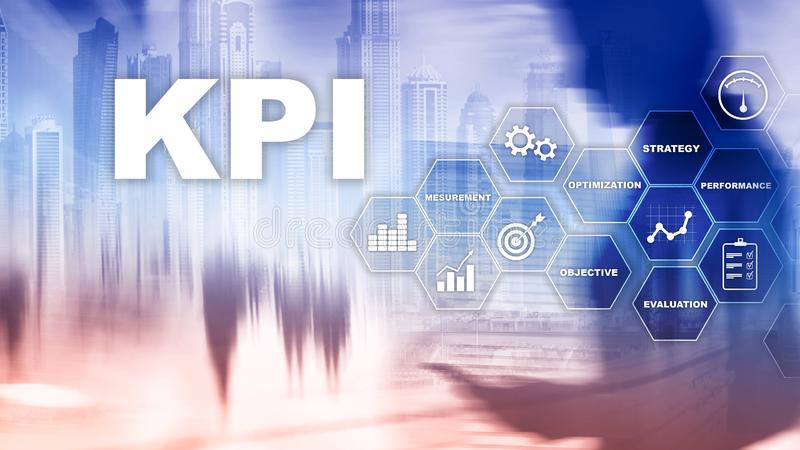 KPI - Key Performance Indicator. Business and technology concept. Multiple exposure, mixed media. Financial concept on blurred bac royalty free illustration