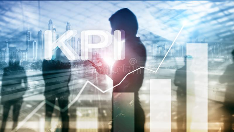 KPI - Key Performance Indicator. Business and technology concept. Multiple exposure, mixed media. Financial concept on royalty free stock images