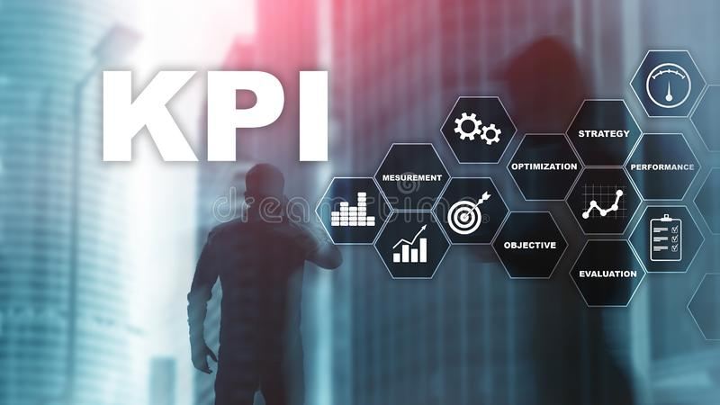 KPI - Key Performance Indicator. Business and technology concept. Multiple exposure, mixed media. Financial concept on royalty free stock photo