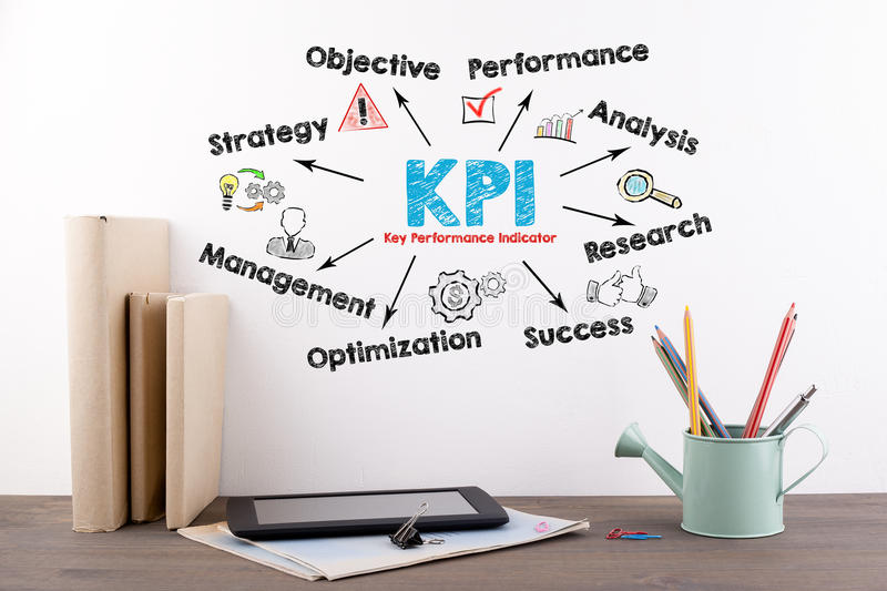KPI Key Performance Indicator Concept. Books and stationery on a wooden office desk royalty free stock photography