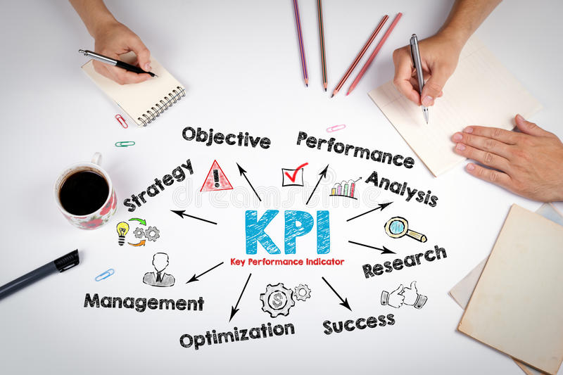 KPI Key Performance Indicator Concept. The meeting at the white office table stock photo