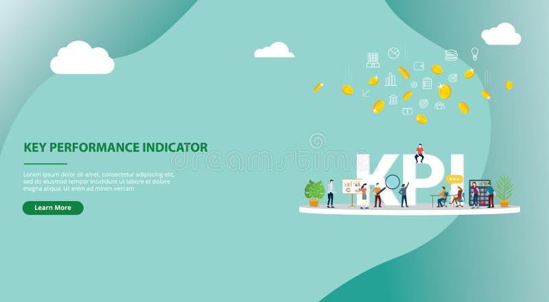 Kpi key performance indicator concept website template banner design - vector royalty free illustration