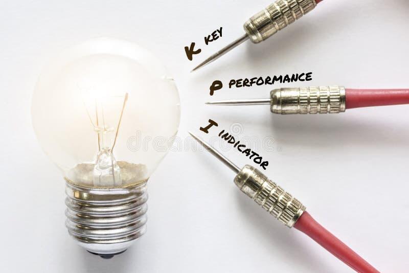 KPI key performance indicator dart with idea lamp target. KPI key performance indicator dart with idea bulb lamp target on white background, Smart goals concept stock images
