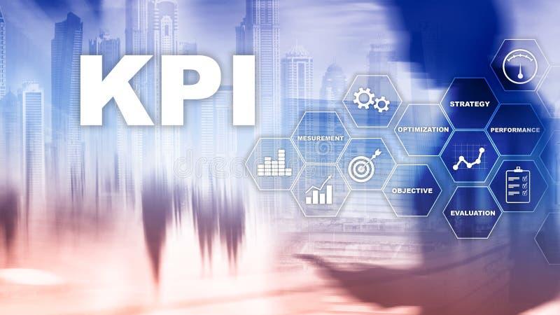 KPI - Kluczowego występu wskaźnik Biznesu i technologii pojęcie E Pieniężny pojęcie na zamazanym bac royalty ilustracja