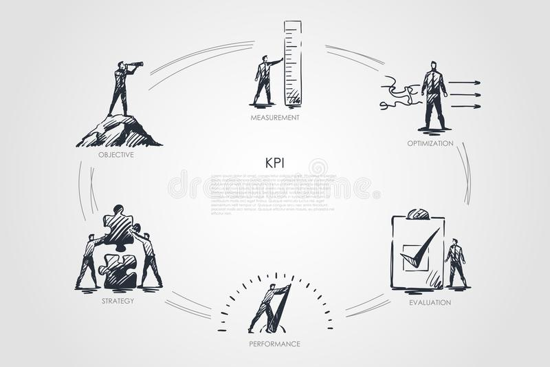 KPI - meting, optimalisering, evaluatie, prestaties, strategie vastgesteld concept vector illustratie