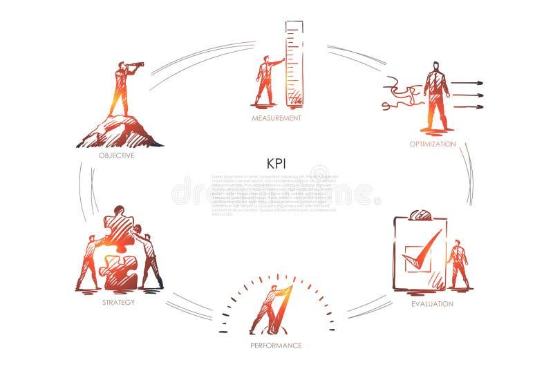 KPI - misura, ottimizzazione, valutazione, prestazione, concetto dell'insieme di strategia illustrazione di stock