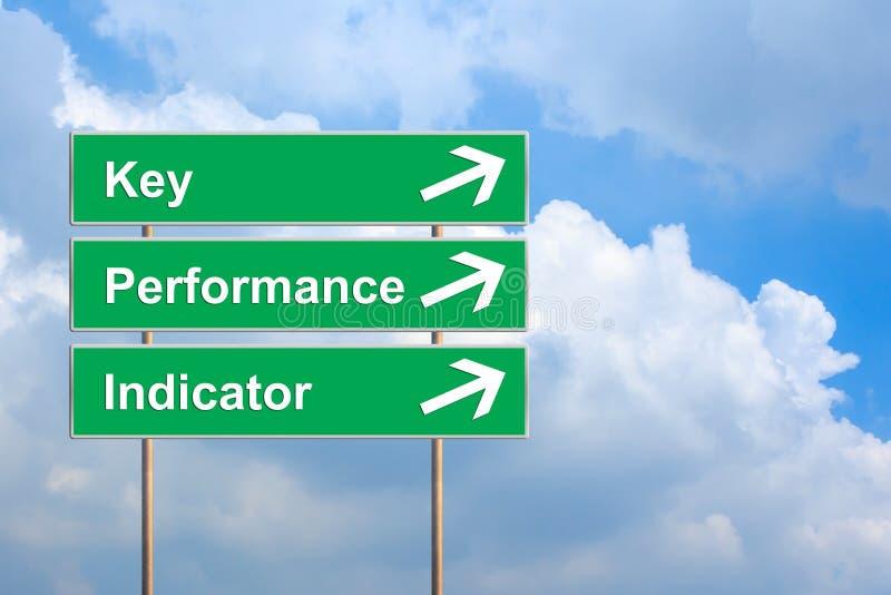 KPI o indicador de rendimiento clave en señal de tráfico verde imagen de archivo